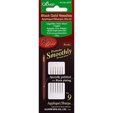 Clover Black Gold Applique/Sharps Needles, Size 9, 6/Pack
