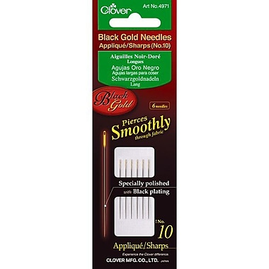 Clover Black Gold Applique/Sharps Needles, Size 10, 6/Pack