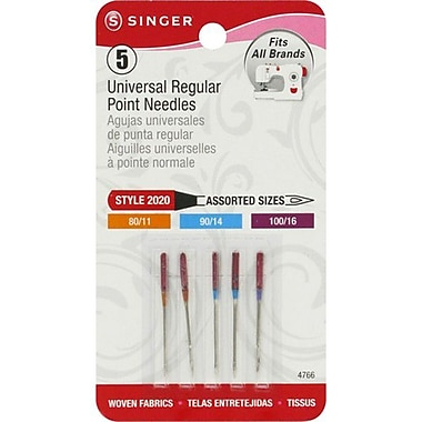 Singer Regular Point Machine Needles, Assorted Sizes, 5/Pack