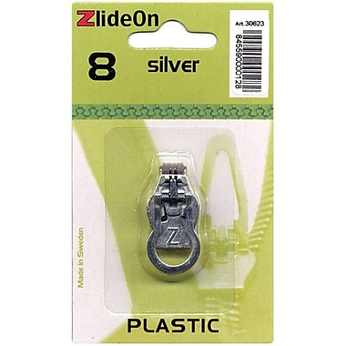 ZlideOn Zipper Pull Replacements Plastic, Size 8, Silver