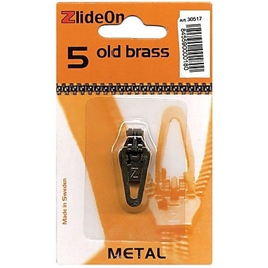ZlideOn Zipper Pull Replacements Metal, Size 5, Old Brass