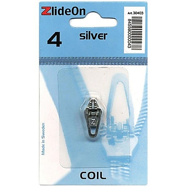 ZlideOn Zipper Pull Replacements Coil, Size 4, Silver