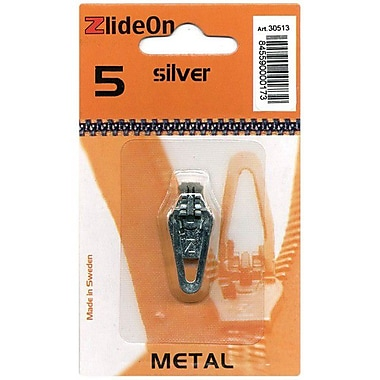 ZlideOn Zipper Pull Replacements Metal, Size 5, Silver