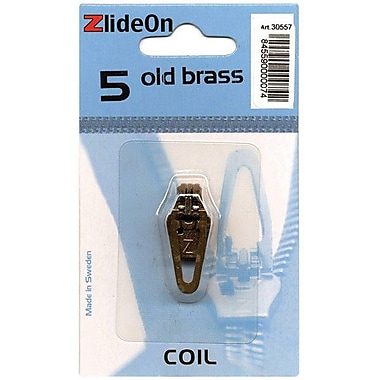 ZlideOn Zipper Pull Replacements Coil, Size 5, Old Brass