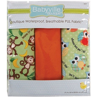 Babyville PUL Waterproof Diaper Fabric, Playful Friends Monkey & Hoot, 21