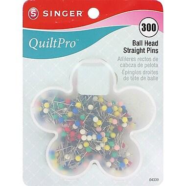 Singer QuiltPro Ball Head Straight Pins In Flower Case 1-1/16