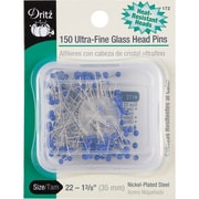 "Dritz Ultra-Fine Glass Head Pins 1-3/8"", 150/Pack"