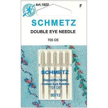 Euro-Notions Double Eye Machine Needles, Size 80/12, 5/Pack