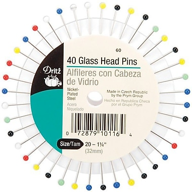 Dritz Glass Head Pins, Size 20, 40/Pack