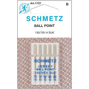 Ball Point Jersey Machine Needles, 2-70, 2-80, 1-90, 5/Pkg