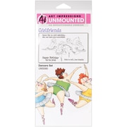 "Art Impressions Girlfriends 10"" x 4 1/2"" Cling Stamp, Dancers Set"