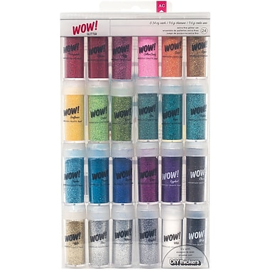 American Crafts 27388 Assorted Wow Extra Fine Glitter, 24/Pack