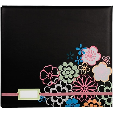 Colorbok® 12in. x 12in. Postbound Album With Label Holder, Black Floral