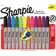 Sharpie Brush Point Permanent Marker, Assorted, 12/Pack