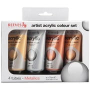 Reeves Non-toxic 75 ml. Acrylic Metallic Set, 4/Pack (8390904)