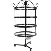 "Darice® 6 1/2"" x 6.3"" x 8.9"" 4 Tier Round Metal Spinner Earring Rack, Black"