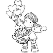 "Magnolia Sweet Crazy Love 6 1/2 "" x 3 1/2"" Cling Stamp, Tilda With Heart Balloons"