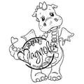 Magnolia Princes & Princesses 6 1/2in. x 3 1/2in. Cling Stamp, Lilyrose The Dragon