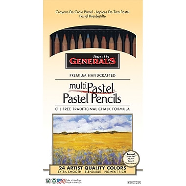 General Pencil 24 Piece Multi Pastel Chalk Pencils