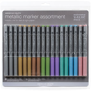 American Crafts Bold, Medium Point Metallic Marker, Assorted, 18/Pack