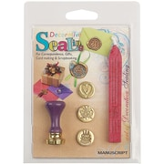 Manuscript Pen Decorative Sealing Set W/Pink Wax Butterfly, Cake & Heart Coins