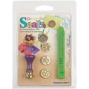 Manuscript Pen Decorative Sealing Set W/Green Wax Flower, Leaf & Snowflake Coins