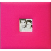 "MBI® Fashion Fabric Cover Postbound Album With Window, 12"" x 12"", Hot Pink"