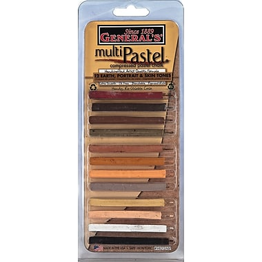 General Pencil 12 Piece Multi Pastel Compressed Chalk Sticks