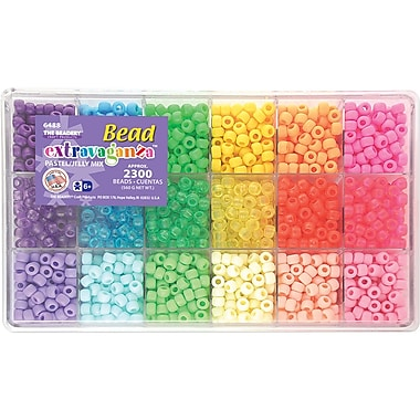 Beadery Giant Extravaganza Bead Box Kit, Pastel and Jelly, 2300 Beads/Pack