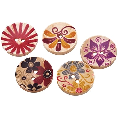 Fabscraps 1in. Hand Painted Wooden Buttons, 100/Pack