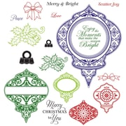 "Justrite® Stampers 8 1/2"" x 5 1/2"" Cling Stamp Set, Merry & Bright"