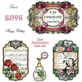Justrite® Stampers 8 1/2in. x 5 1/2in. Cling Stamp Set, Shabby Chic Labels Four