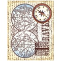 Justrite® Stampers 4 1/2in. x 5 3/4in. Cling Background Stamp, Vintage Map Collage