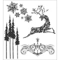 Stampers Anonymous Tim Holtz 7in. x 8 1/2in. Cling Stamp Set, Reindeer Flight