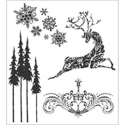 Stampers Anonymous Tim Holtz 7 x 8 1/2 Cling Stamp Set, Reindeer Flight