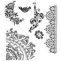 Stampers Anonymous Tim Holtz 7in. x 8 1/2in. Cling Stamp Set, Floral Tattoo