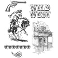 Stampers Anonymous Tim Holtz 7in. x 8 1/2in. Cling Stamp Set, Wild West