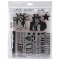 Stampers Anonymous Tim Holtz 7in. x 8 1/2in. Cling Stamp Set, American Silhouettes