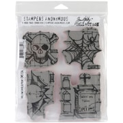 "Stampers Anonymous Tim Holtz 7"" x 8 1/2"" Cling Stamp Set, Halloween Blueprint"