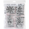 Stampers Anonymous Tim Holtz 7in. x 8 1/2in. Cling Stamp Set, Christmas Blueprint