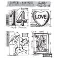 Stampers Anonymous Tim Holtz 7in. x 8 1/2in. Cling Stamp Set, Valentine Blueprint