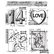 "Stampers Anonymous Tim Holtz 7"" x 8 1/2"" Cling Stamp Set, Valentine Blueprint"