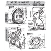 "Stampers Anonymous Tim Holtz 7"" x 8 1/2"" Cling Stamp Set, Easter Blueprint"