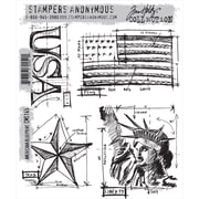 "Stampers Anonymous Tim Holtz 7"" x 8 1/2"" Cling Stamp Set, Americana Blueprint"