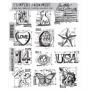 "Stampers Anonymous Tim Holtz 7"" x 8 1/2"" Cling Stamp Set, Mini Blueprints"