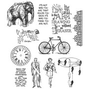 Stampers Anonymous Tim Holtz 7 x 8 1/2 Large Cling Stamp Set, Purely Random