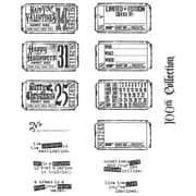 "Stampers Anonymous Tim Holtz 7"" x 8 1/2"" Large Cling Stamp Set, Odds & Ends"
