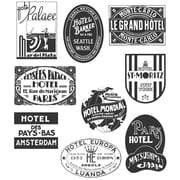 "Stampers Anonymous Tim Holtz 7"" x 8 1/2"" Large Cling Stamp Set, Travel Labels"