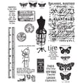 Stampers Anonymous Tim Holtz 7in. x 8 1/2in. Large Cling Stamp Set, Attic Treasures
