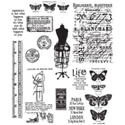 "Stampers Anonymous Tim Holtz 7"" x 8 1/2"" Large Cling Stamp Set, Attic Treasures"
